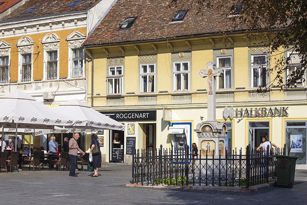 Serbia, Belgrade, Zemun, Gospodska Street - a pedestrian street with many cafes - 1104-1384