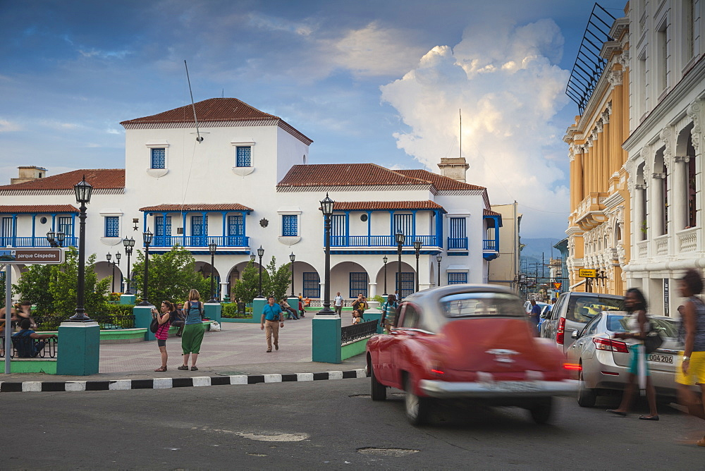 Parque Cespedes (main city square) looking towards the town hall and Governor's House, Santiago de Cuba, Santiago de Cuba Province, Cuba, West Indies, Caribbean, Central America