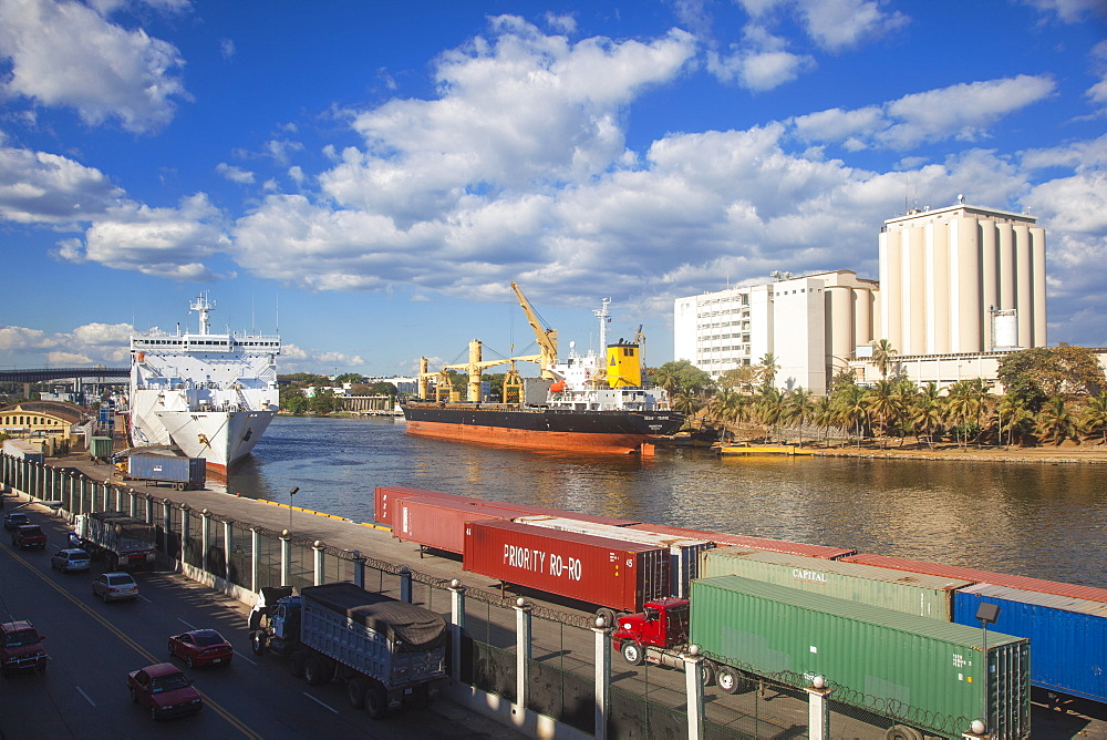 Container ship in Puerto Don Diago, Santo Domingo, Dominican Republic, West Indies, Caribbean, Central America