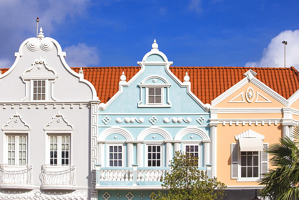 Colonial Dutch architechure near Main Street, Oranjestad, Aruba, Netherlands Antilles, Caribbean, Central America