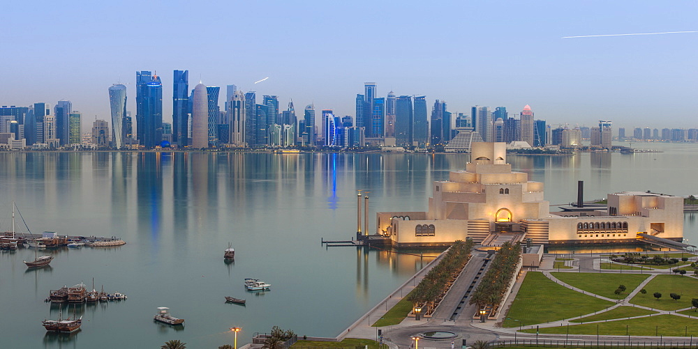 Museum of Islamic Art with West Bay skyscrapers in background, Doha, Qatar, Middle East
