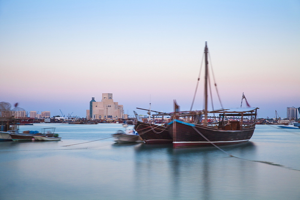 Boats in Doha Bay and Museum of Islamic Art, Doha, Qatar, Middle East