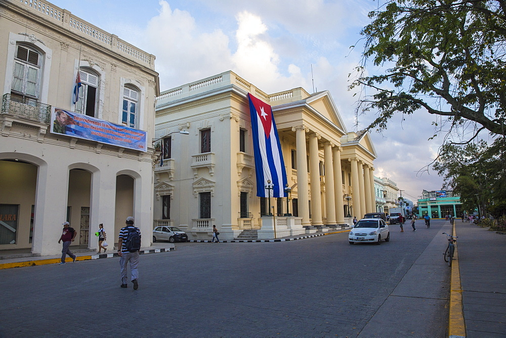 Cuba, Santa Clara, Parque Vidal, Cuban flag hanging from Palacio Provincial after the death of Fidel Castro