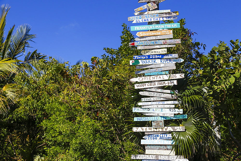 Signposts, Hope Town, Elbow Cay, Abaco Islands, Bahamas, West Indies, Caribbean, Central America
