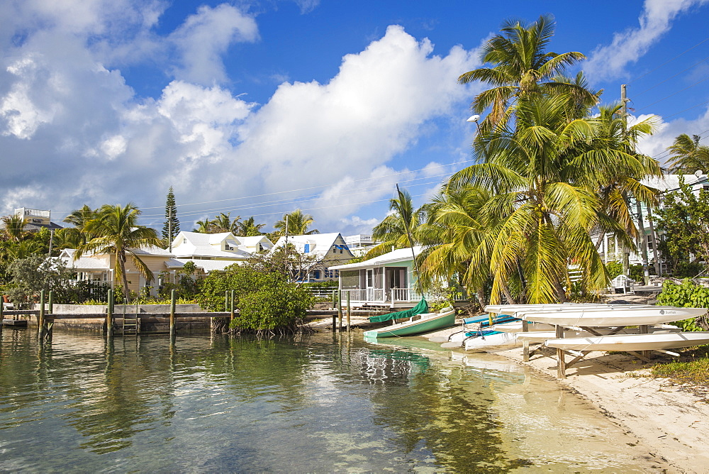 Harbour front, Hope Town, Elbow Cay, Abaco Islands, Bahamas, West Indies, Caribbean, Central America