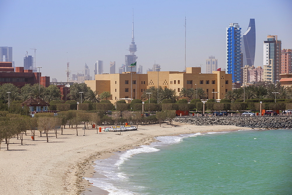 Arabian Gulf and city skyline, Salmiya, Kuwait City, Kuwait, Middle East