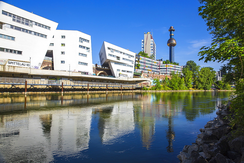 Fernwarme power plant and SEG apartments, Spittelau, Vienna, Austria, Europe