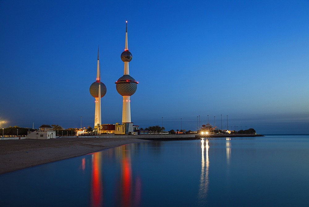 Kuwait Towers at dawn, Kuwait City, Kuwait, Middle East