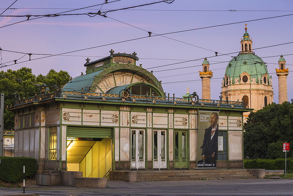 Karlsplatz metro station and St. Charles Church, Vienna, Austria, Europe