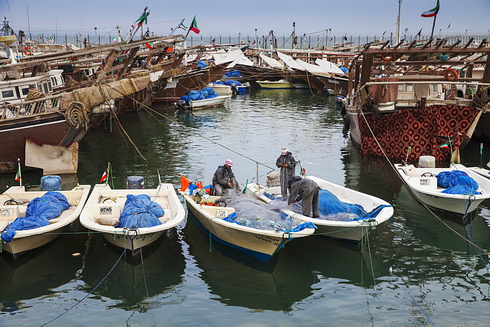 Fishing boats and dhows in the Old Ships port, Kuwait City, Kuwait, Middle East