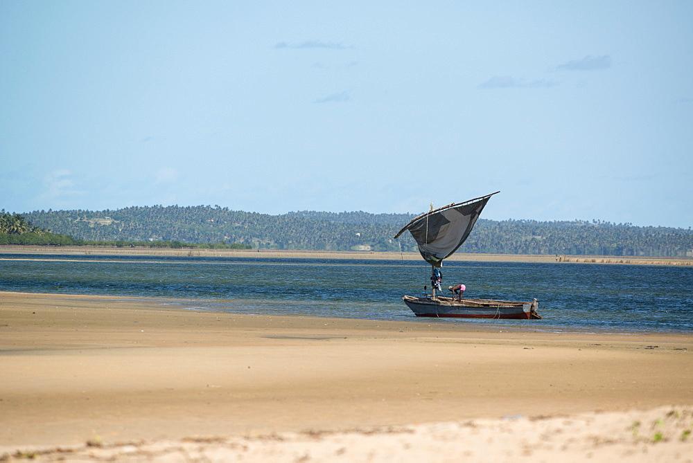 Fishermen with dhow setting seine net, Flamingo Bay, Inhambane, Mozambique, Africa - 1108-36