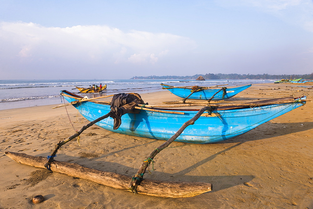 Traditional outrigger fishing boats on Weligama Beach, South Coast of Sri Lanka, Indian Ocean, Asia