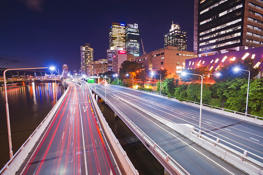 Highway in Brisbane, car light trails at night, Brisbane, Queensland, Australia, Pacific