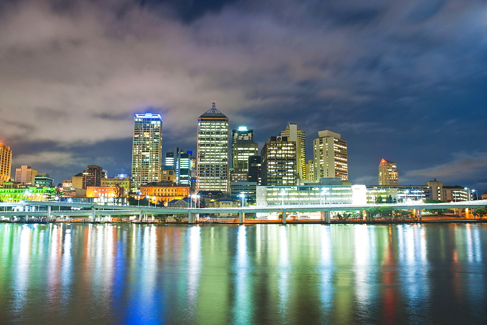 Brisbane skyline at night, taken from South Bank, Queensland, Australia, Australasia, Pacific