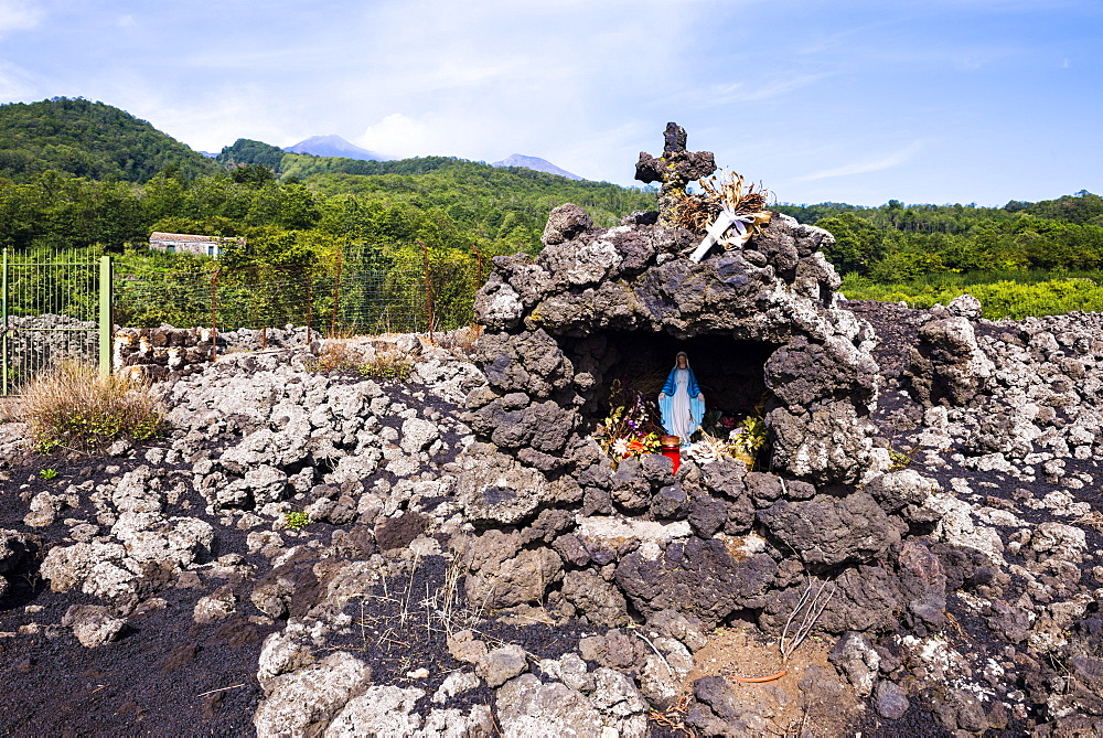 Mount Etna Volcano, shrine where the lava from an eruption stopped, UNESCO World Heritage Site, Sicily, Italy, Europe