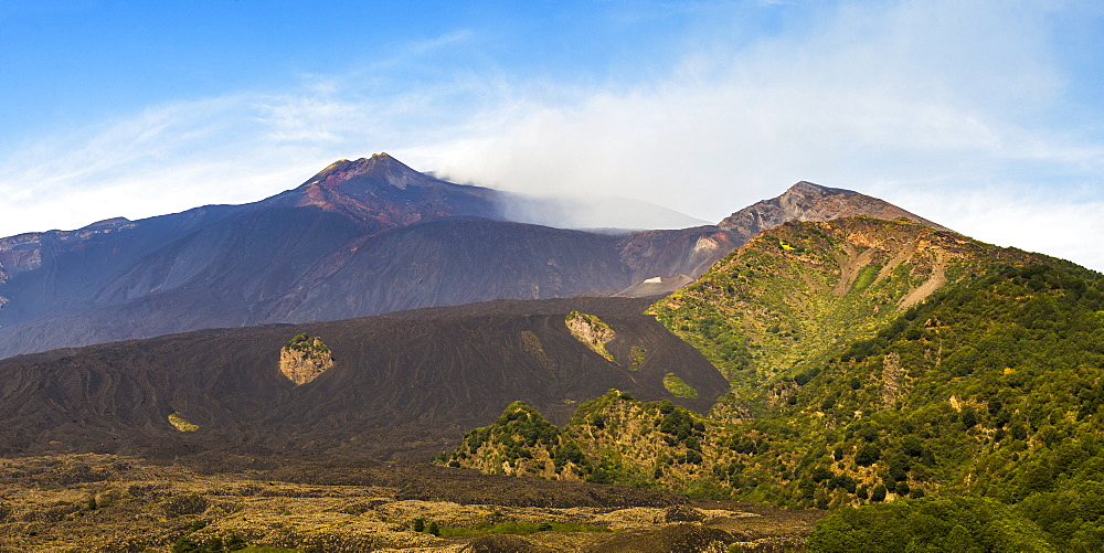 Mount Etna Volcano, with a lava field in the foreground, UNESCO World Heritage Site, Sicily, Italy, Europe