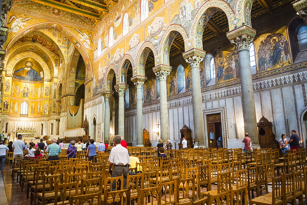 Interior of Monreale Cathedral (Duomo di Monreale) at Monreale, near Palermo, Sicily, Italy, Europe