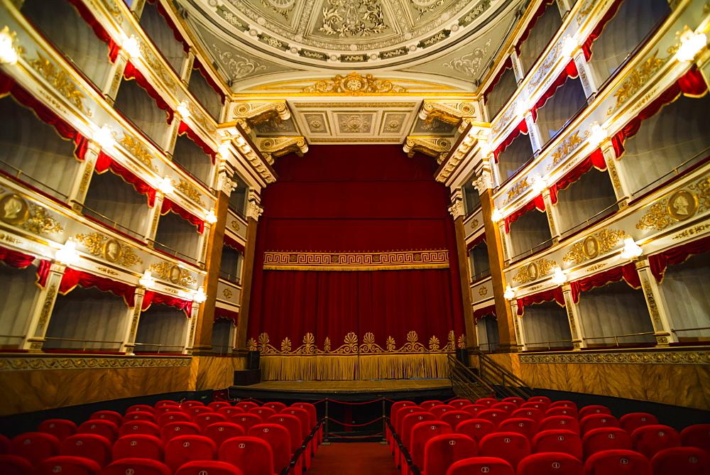 Noto Theatre interior (Teatro Comunale Vittorio Emanuele) in Piazza XVI Maggio, Noto, Sicily, Italy, Europe