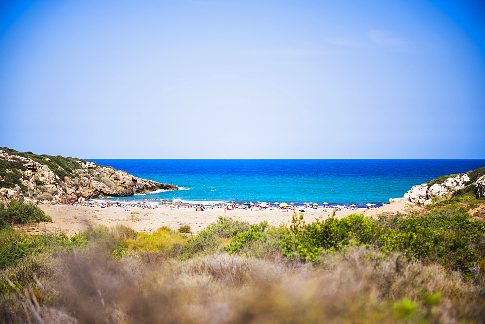 Calamosche Beach, a popular, secluded beach near Noto, Vendicari Nature Reserve, South East Sicily, Italy, Mediterranean, Europe