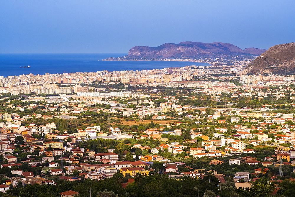 Cityscape of Palermo (Palermu) and the coast of Sicily, seen from Monreale, Sicily, Italy, Mediterranean, Europe