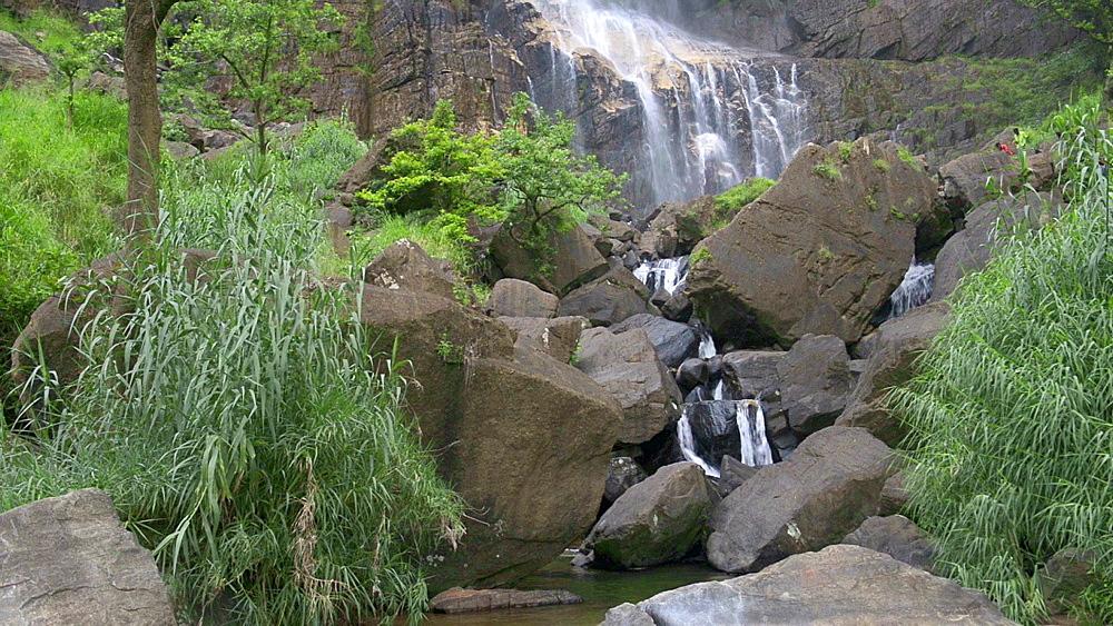 Bambarakanda Falls, a waterfall near Haputale, Sri Lanka Hill Country, Nuwara Eliya District, Asia