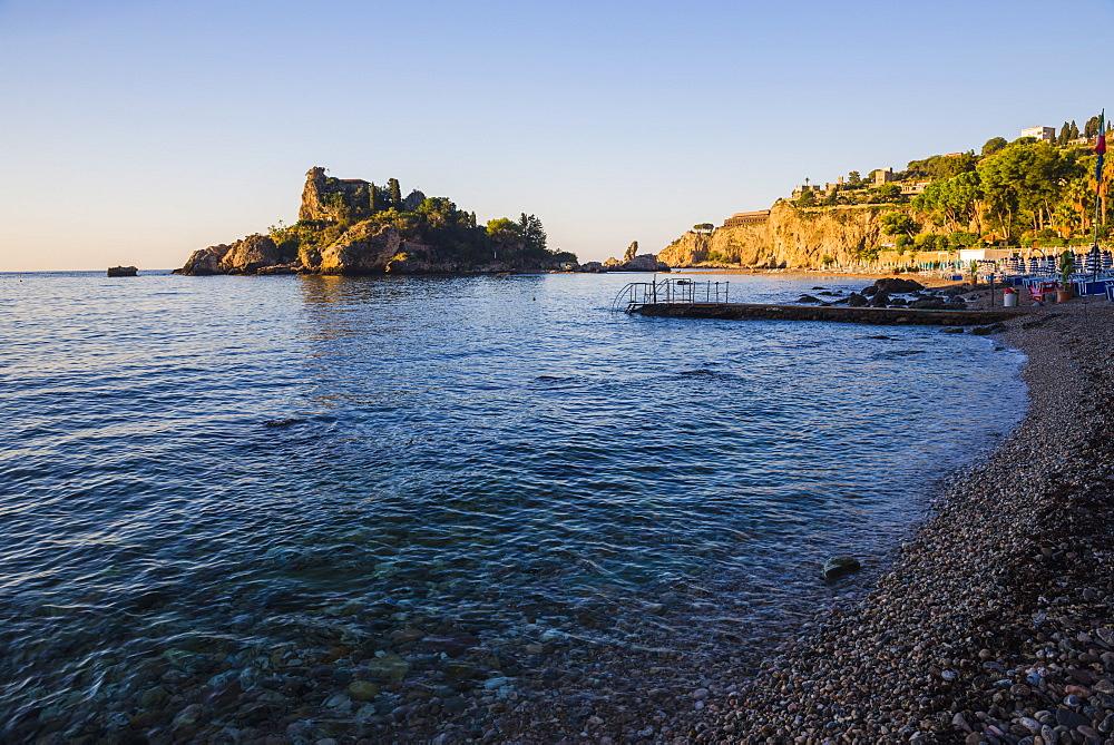 Taormina, Isola Bella Beach in the first morning light, Sicily, Italy, Mediterranean, Europe