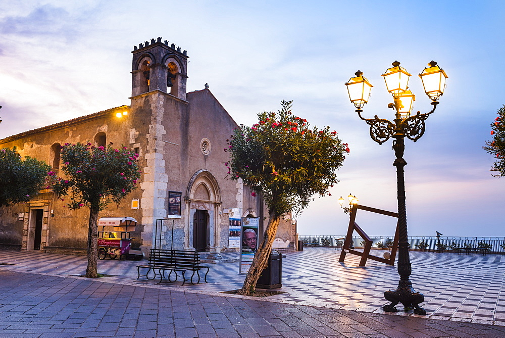 St. Augustine's Church in Piazza IX Aprile at night, Taormina, Sicily, Italy, Europe
