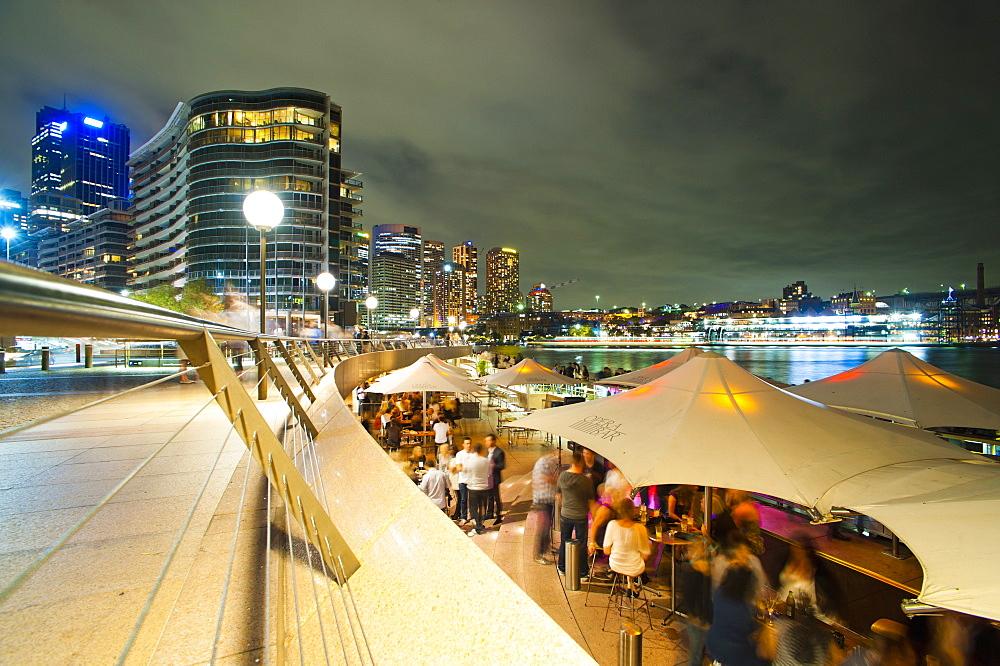 Opera Bar and Circular Quay at night, Syndey, New South Wales, Australia, Pacific