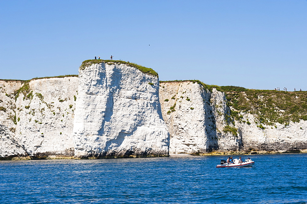 Chalk stacks and cliffs at Old Harry Rocks, between Swanage and Purbeck, Dorset, Jurassic Coast, UNESCO World Heritage Site, England, United Kingdom, Europe