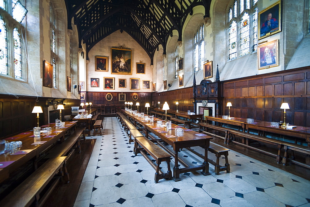 Exeter College dining hall, University of Oxford, Oxfordshire, England, United Kingdom, Europe