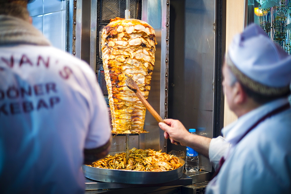 Doner kebab, a typical Turkish food in Istanbul, Turkey, Europe