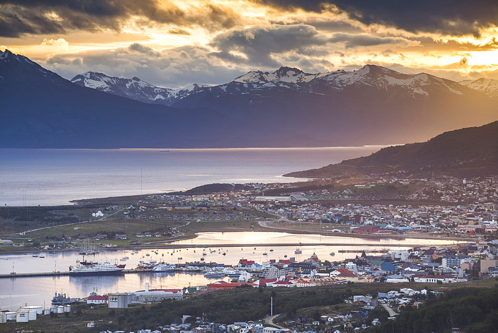 Sunset at Ushuaia, the southern most city in the world, Tierra del Fuego, Patagonia, Argentina, South America