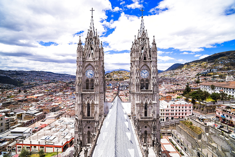 Quito Old Town seen from the roof of La Basilica Church, UNESCO World Heritage Site, Quito, Ecuador, South America