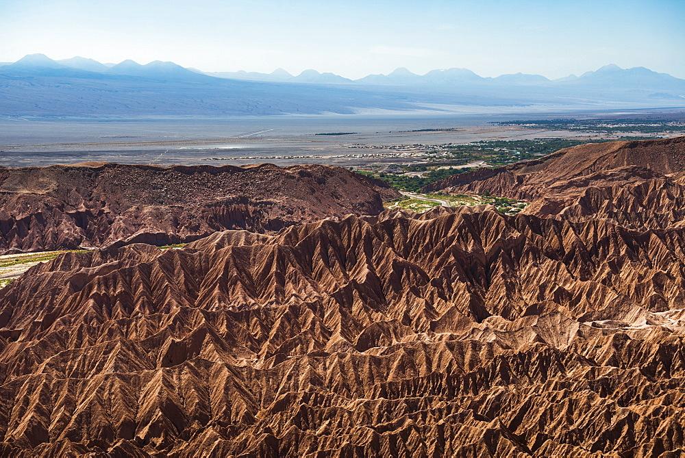 Death Valley (Valle de la Muerte), with San Pedro de Atacama behind, Atacama Desert, North Chile, Chile, South America
