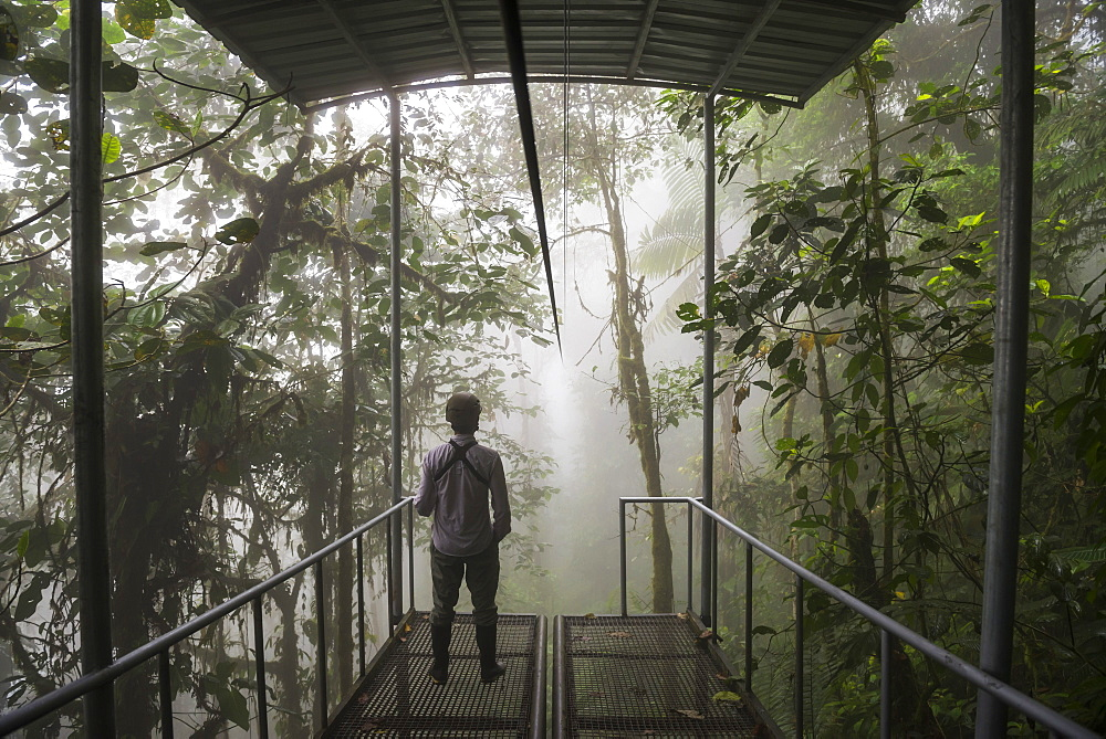 Mashpi Lodge Sky Bike station on a misty morning in the Choco Rainforest, Pichincha Province, Ecuador, South America