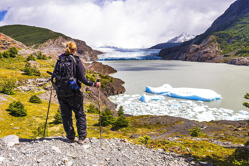 Hiker at Grey Glacier (Glaciar Grey), Torres del Paine National Park, Patagonia, Chile, South America