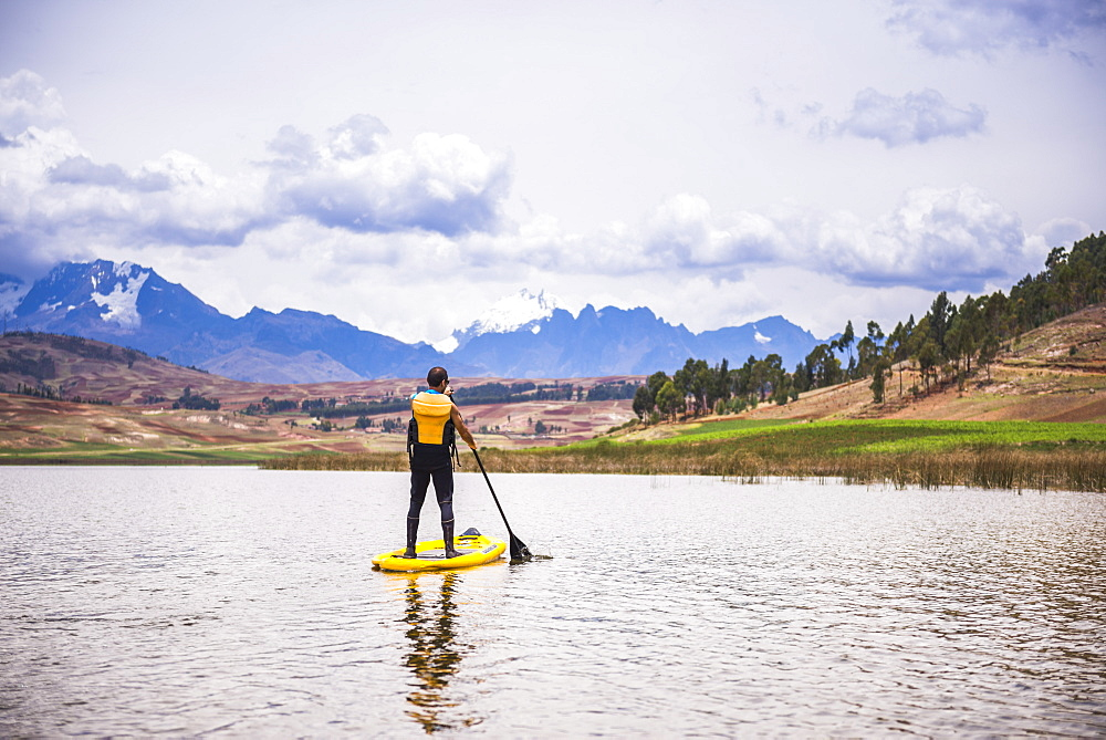 Paddleboarding at Huaypo Lake, Cusco (Cuzco), Peru, South America