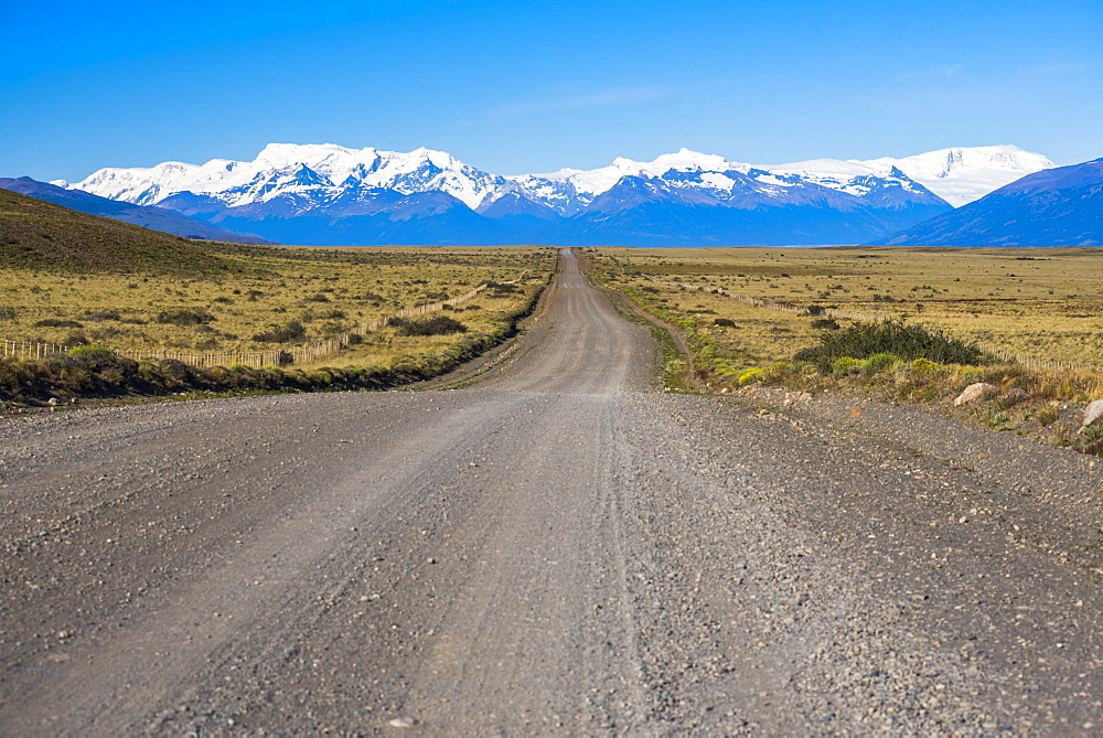 Long straight road to Perito Moreno Glaciar, El Calafate, Patagonia, Argentina, South America - 1109-2111