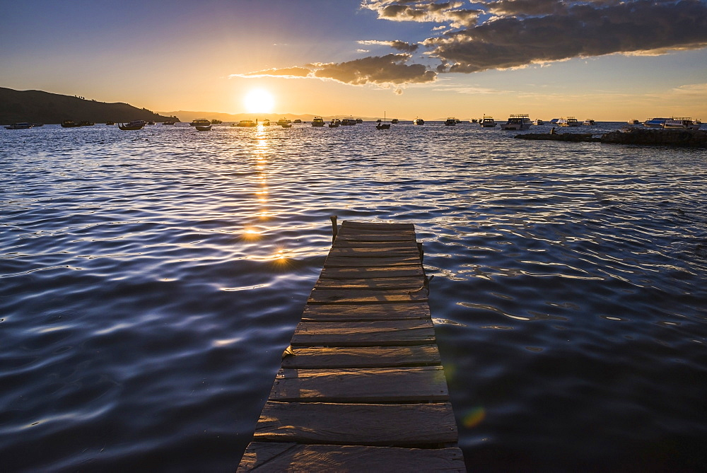 Lake Titicaca pier at sunset, Copacabana, Bolivia, South America