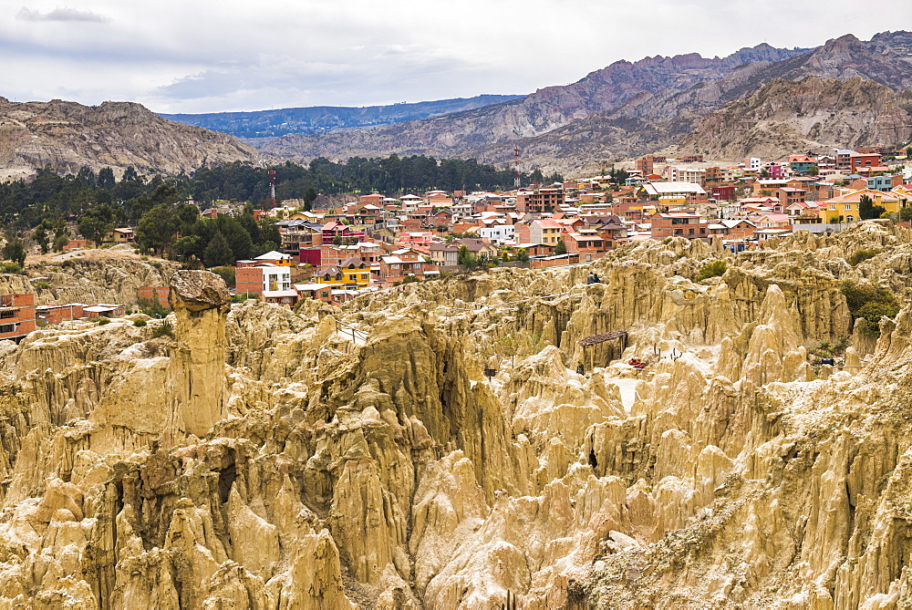 Valle de la Luna (Valley of the Moon) and houses of the city of La Paz, La Paz Department, Bolivia, South America
