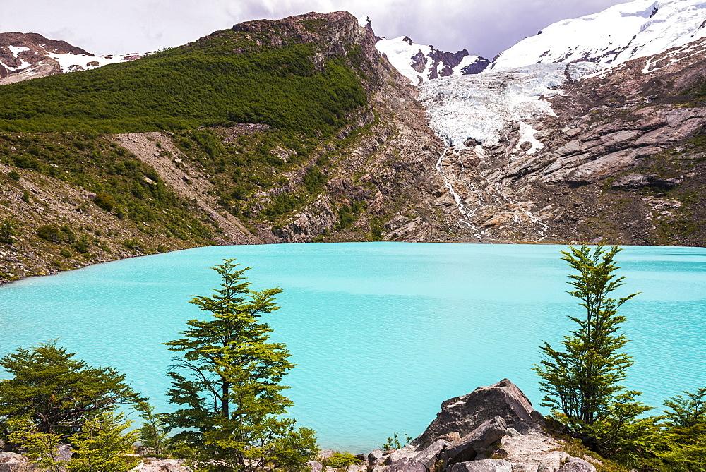 Huemul Lake (Lago Huemul) and Huemul Glacier (Glaciar Huemul), El Chalten, Patagonia, Argentina, South America