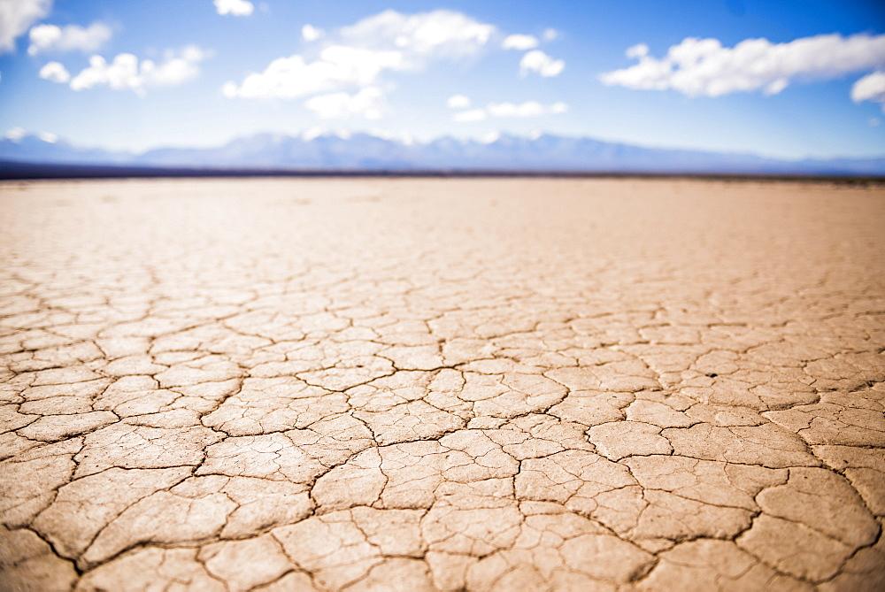 El Barreal Blanco de la Pampa del Leoncito, a dried river bed at Barreal, San Juan Province, Argentina, South America