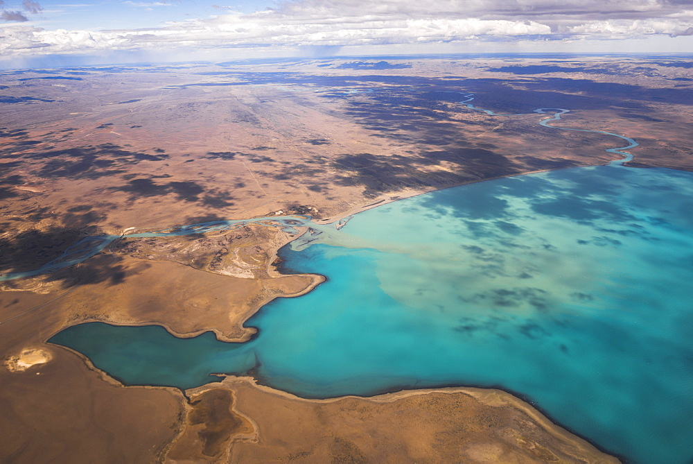 Aerial photo of Lago Argentino (Argentino Lake), El Calafate, Patagonia, Argentina, South America