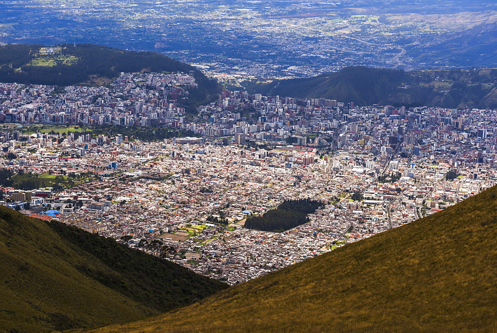 City of Quito seen from the Pichincha Volcano, Quito, Ecuador, South America
