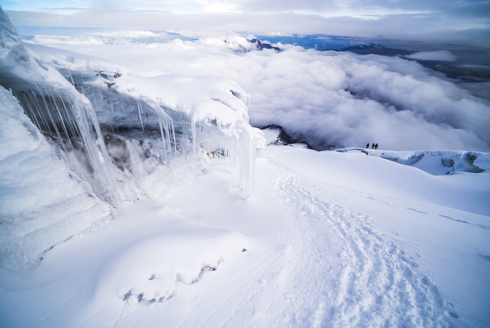 Ice formations and icicles on Cotopaxi Volcano, Cotopaxi National Park, Cotopaxi Province, Ecuador, South America
