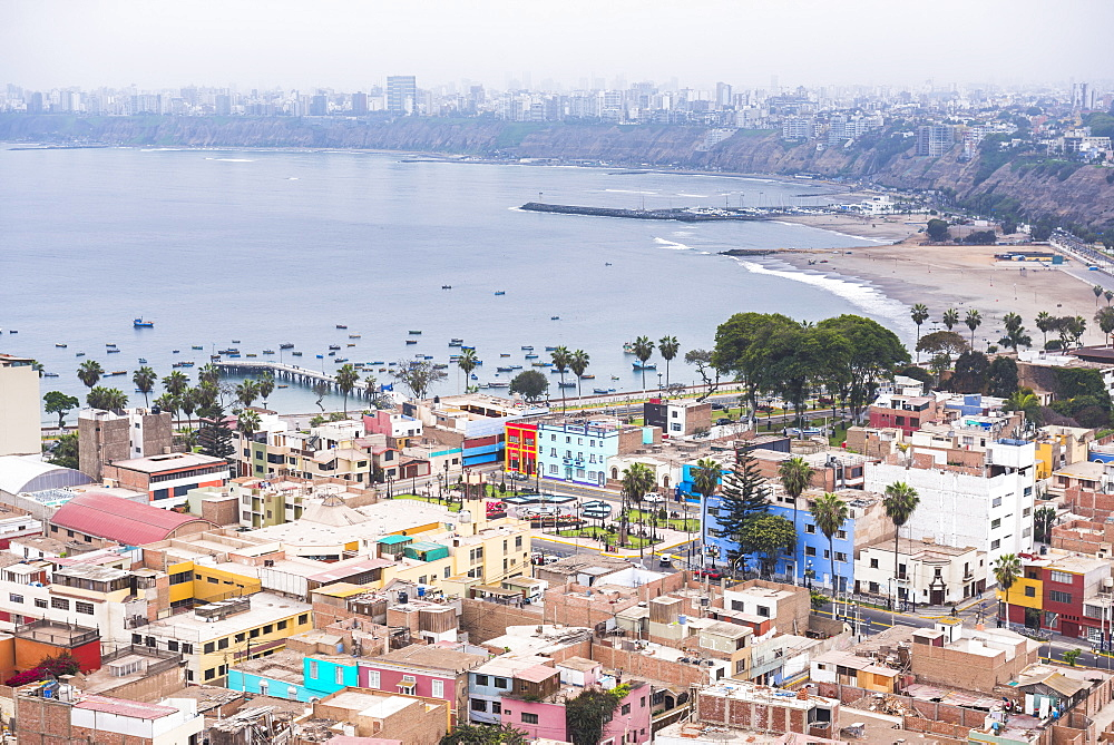 Lima seen from Cerro San Cristobal, Lima Province, Peru, South America