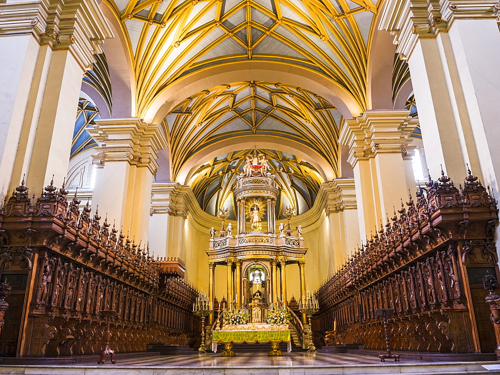 Basilica Cathedral of Lima interior, Plaza de Armas (Plaza Mayor), Lima, Lima Province, Peru, South America