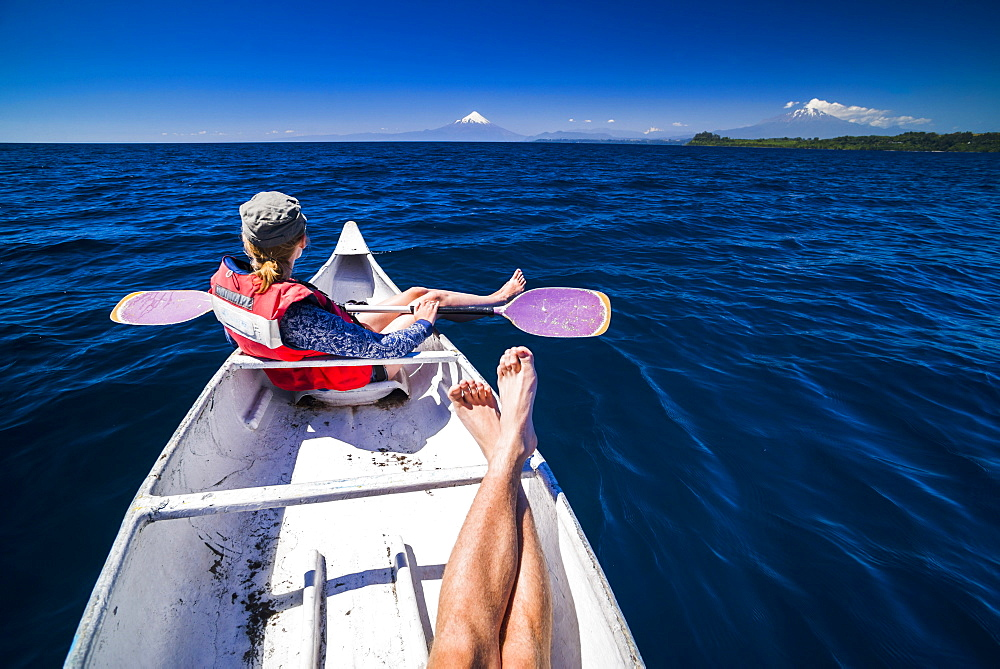 Kayaking on Llanquihue Lake with Osorno Volcano behind, Puerto Varas, Chile Lake District, Chile, South America