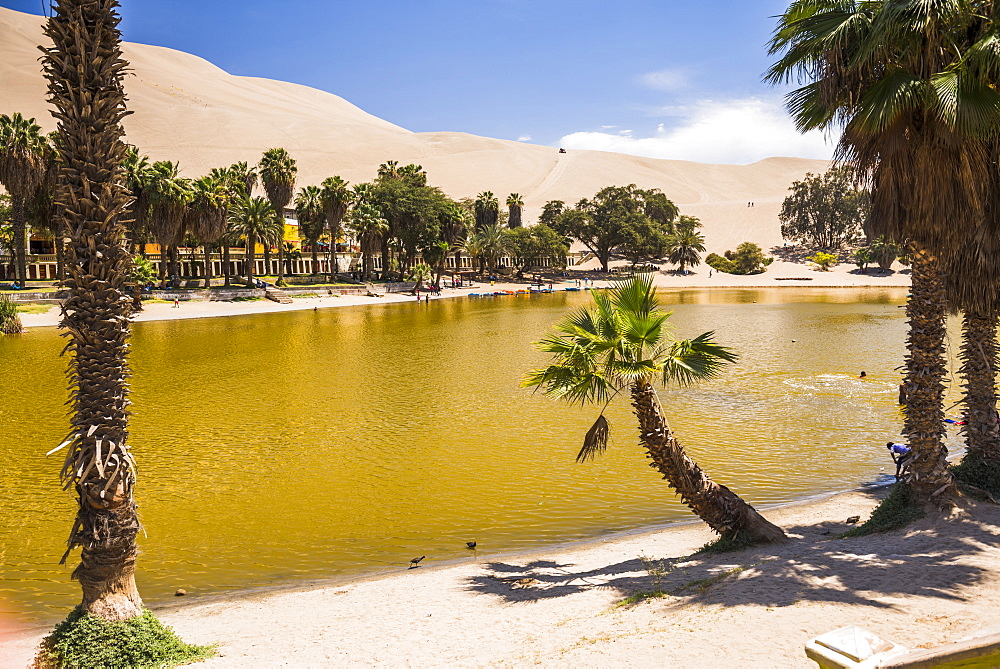 Huacachina, a sand dunes surrounded oasis village in the Ica Region of Peru, South America