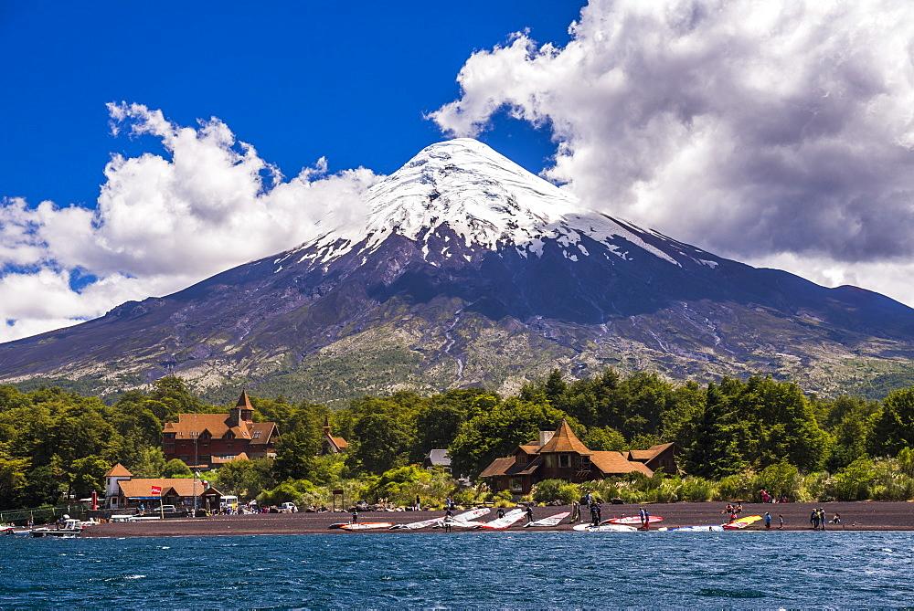 Osorno Volcano seen from Todos Los Santos Lake, Vicente Perez Rosales National Park, Chilean Lake District, Chile, South America